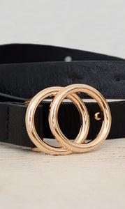 Women's Black Skinny Double Ring Circle Belt