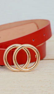 Women's Red/Gold Skinny Double Ring Circle Belt