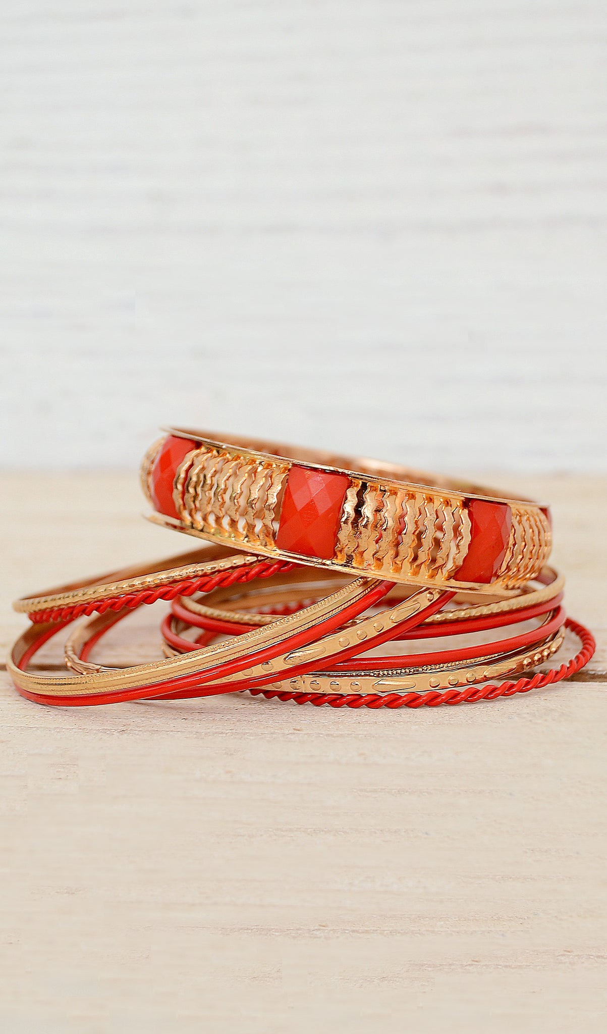 Women's Red/Gold Stackable Bracelet Set