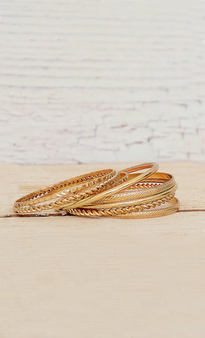 Kim Rogers High Quality Gold Stackable Bangle Set