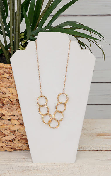 Women's Yellow Gold Circle Loop Necklace