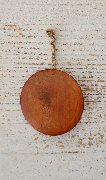 Women's Cognac Brown Wooden Circle Earrings