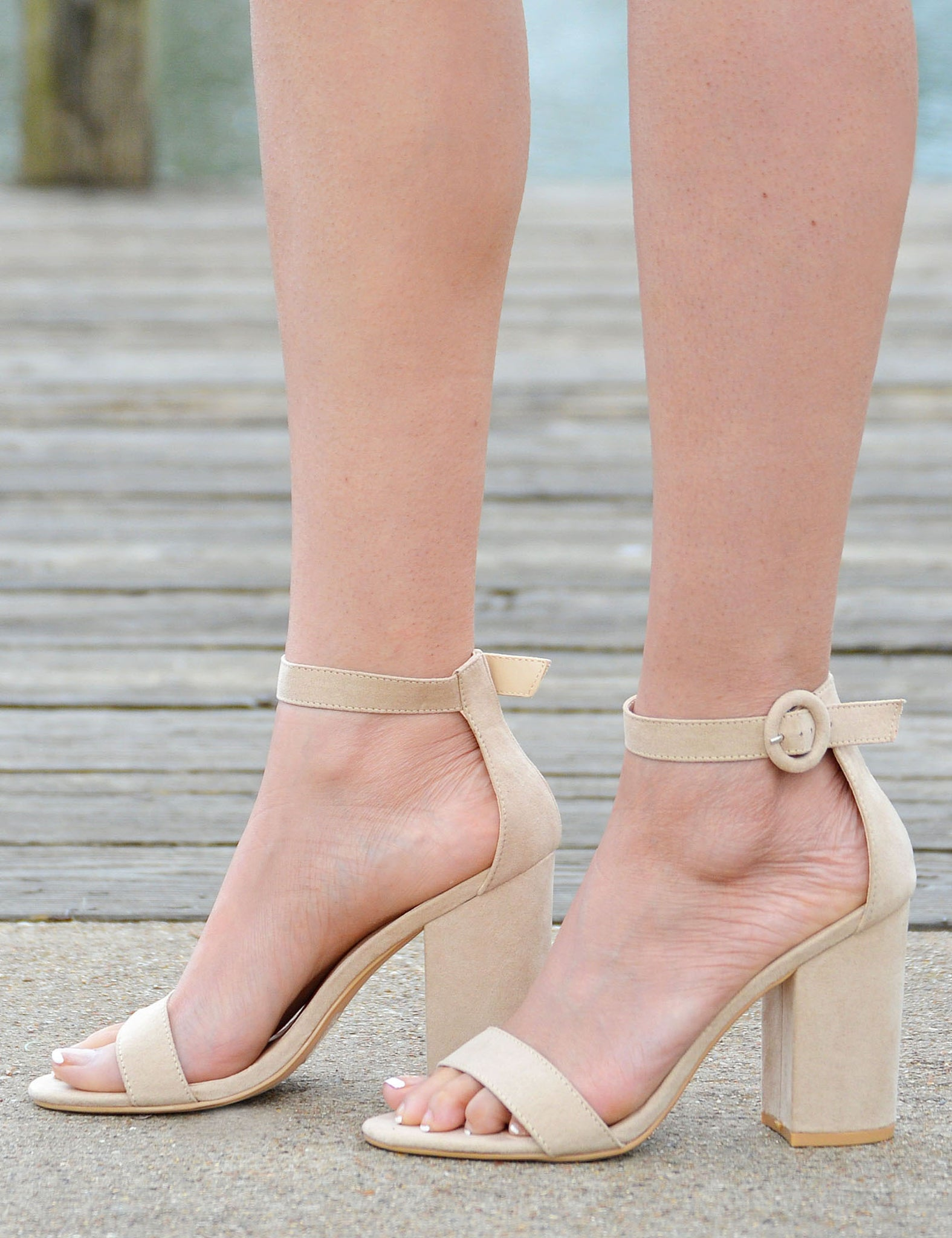 Women's Open Toe Platform Chunky Heels - Beige - Boutique Shoes