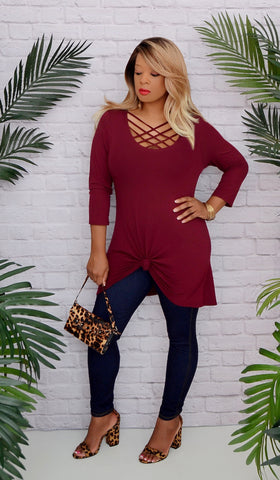 Women's Maroon Cage Criss Cross Tunic Top