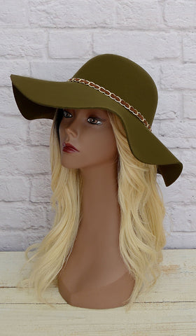 Women's Fashion Olive Green Floppy Hat