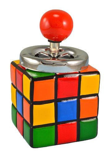 PUSH DOWN CERAMIC RUBIX CUBE ASHTRAY