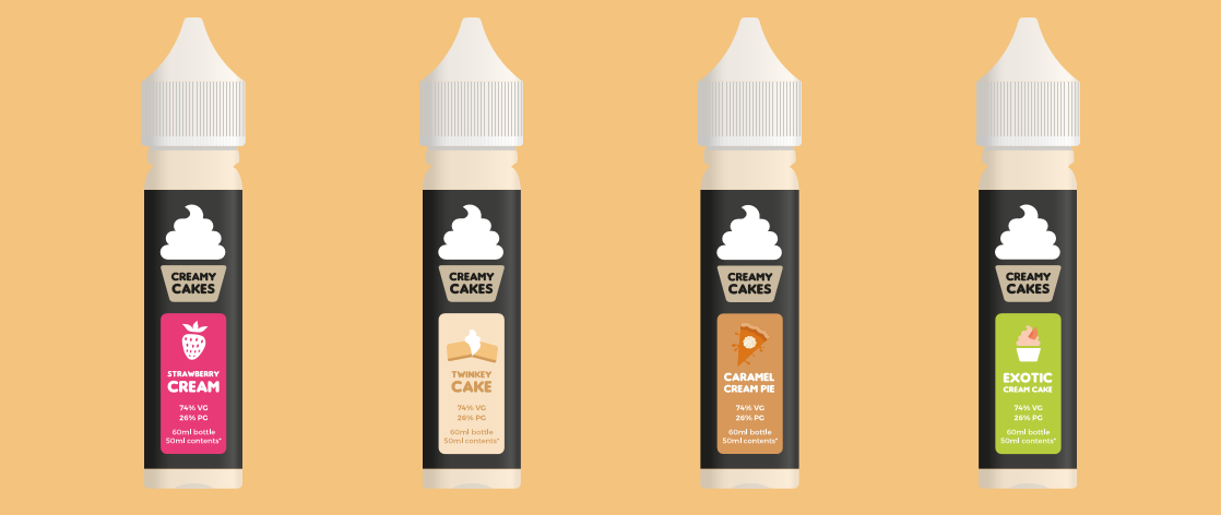 CREAMY CAKE E-LIQUID 60ML WITH A 50ML CONTENT 0MG