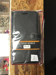 Samsung E7 Phone Case Black leather Flip
