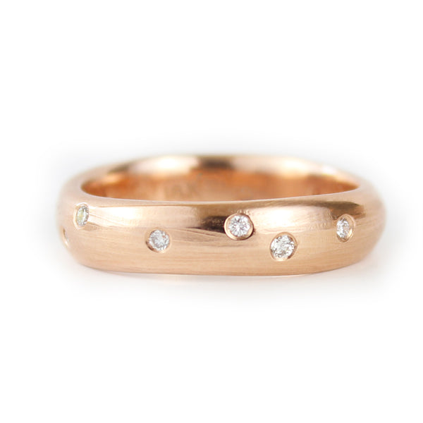 18ct Rose Gold Wedding Band with White Diamonds