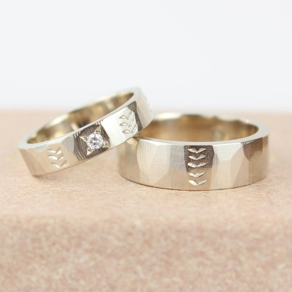 His and Hers Wedding Band Set. 9ct White gold, Diamond Wedding Ring set