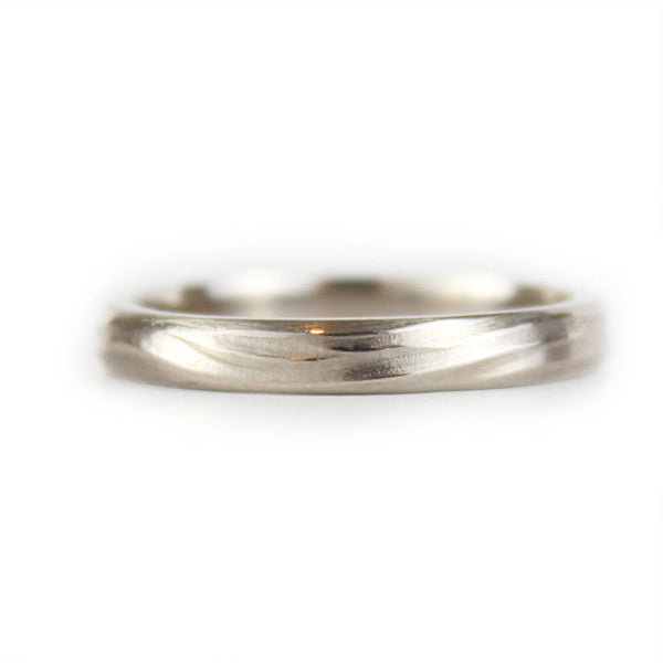 Organic White Gold Wave Ring, 14ct White Gold Wedding Ring