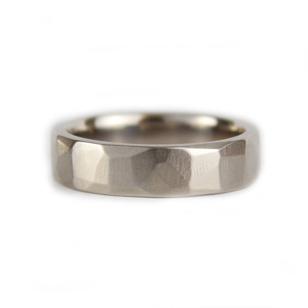 Mens 14ct Palladium White Gold Wedding Ring