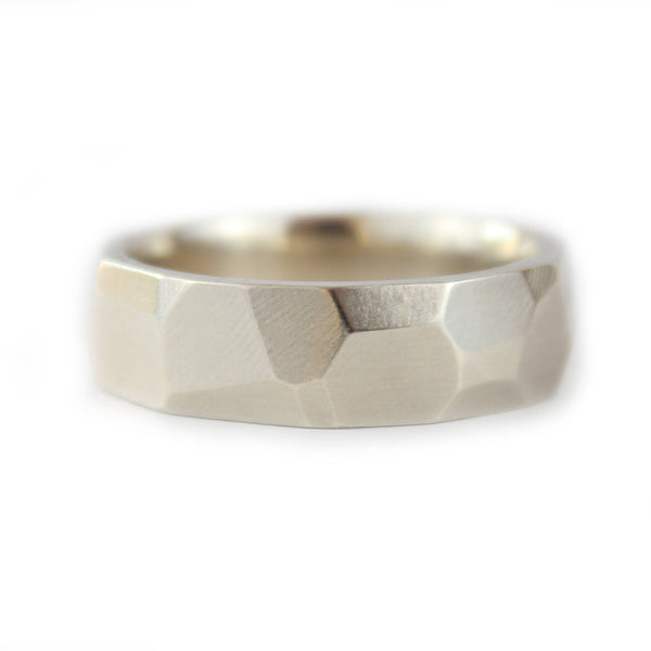 9ct White Gold Faceted Ring