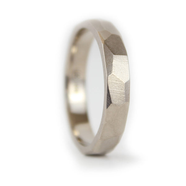 Unique Mens Gold Ring, Mens Gold wedding Band, White gold Wedding Ring Mens