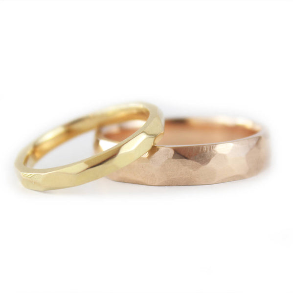 18ct Rose Gold and Yellow Gold Wedding Ring Set