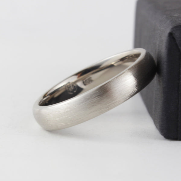 14ct white gold scratched surface ring Mens Wedding Band