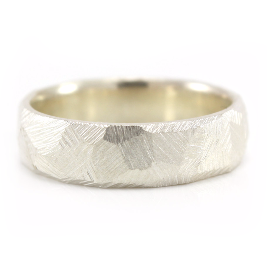Rugged Ring, Mens Silver Rough Texture Ring