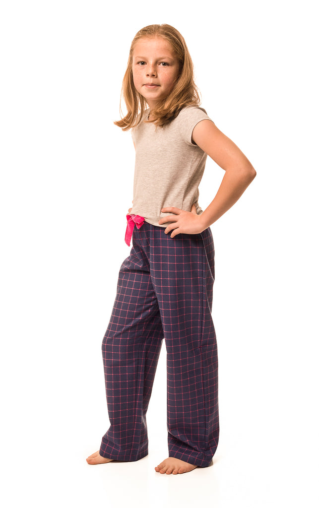 Dever Navy/fuchsia check lounge pants - Girls'