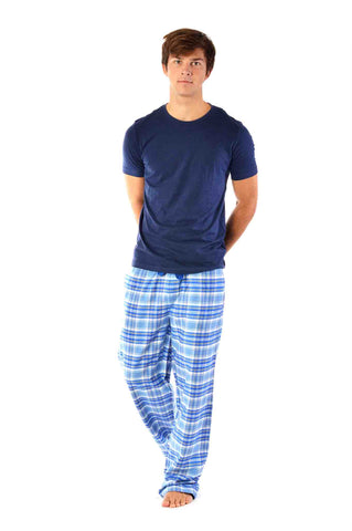 Men's blue check brushed cotton lounge pants