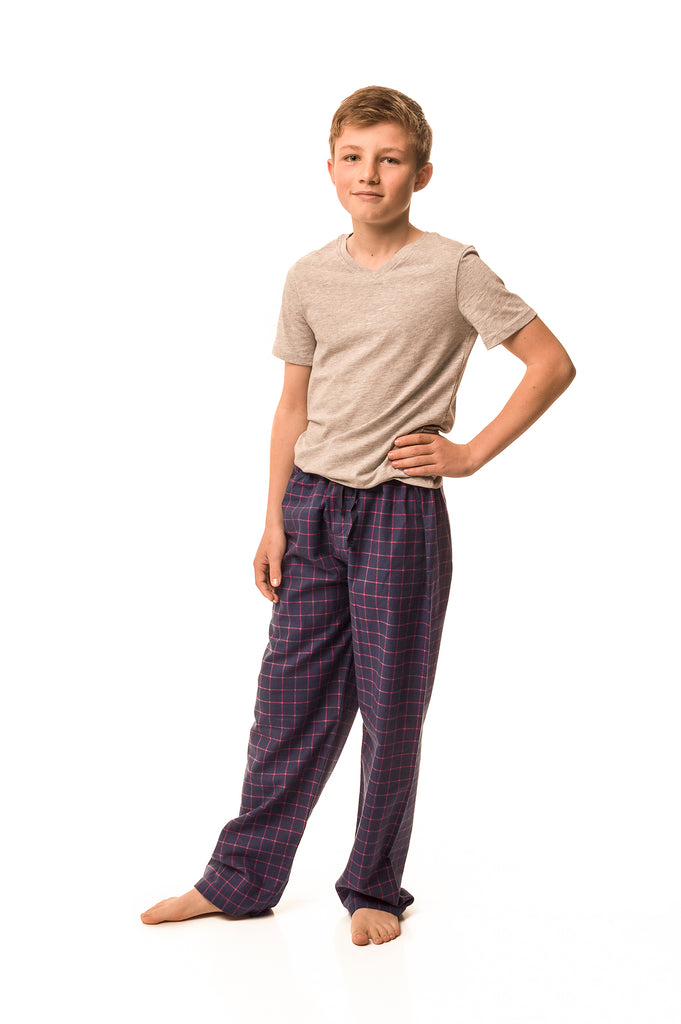 Dever Navy blue/fuchsia check lounge pants - Boys'