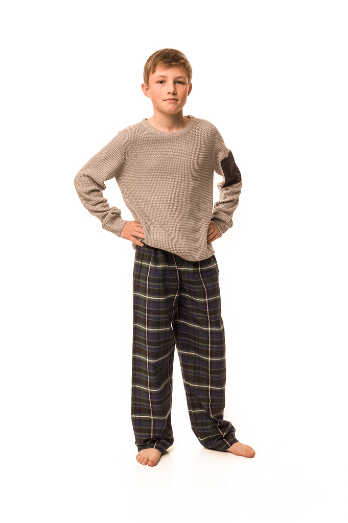 Tillingbourne bottle green/navy check lounge pants - Boys'
