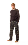 Tillingbourne Bottle green and navy blue check lounge pants - Men's
