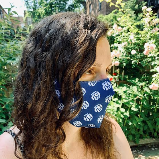 NYPL Blue Logo Dot Face Mask