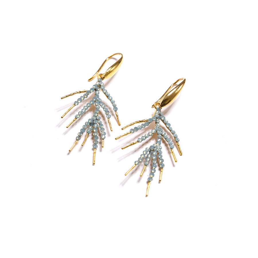 Aqua Jeweled  Branch Earrings