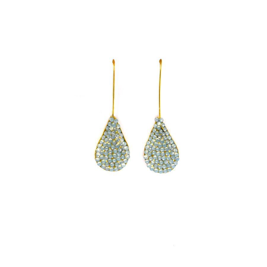 Aqua Jeweled Tear Drop Earrings