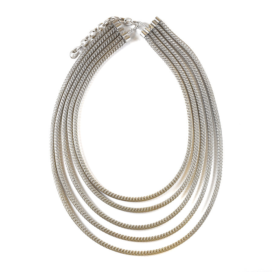 Silver Five Strand Wire Necklace