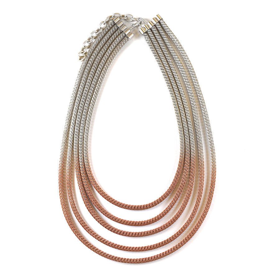 Pink and Silver Five Strand Wire Necklace