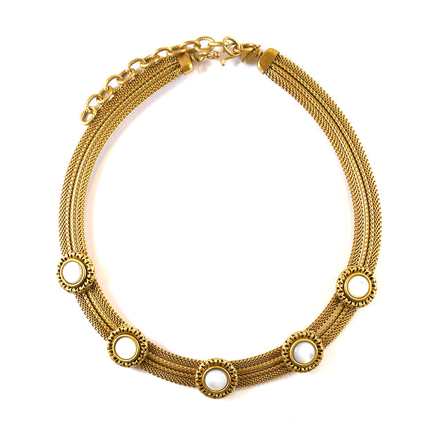 Brass and Mother of Pearl Band Necklace