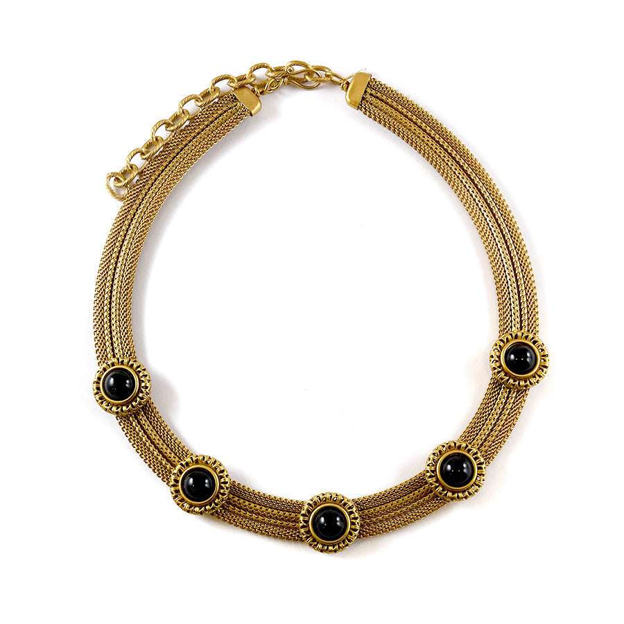 Brass and Onyx Band Necklace