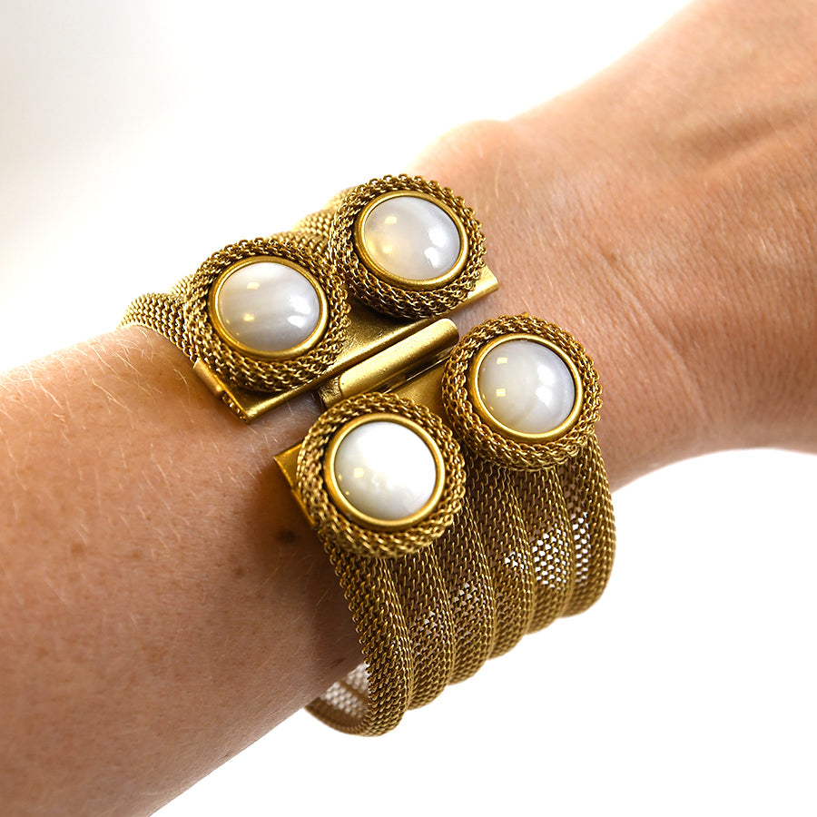 Mother of Pearl and Brass Bracelet