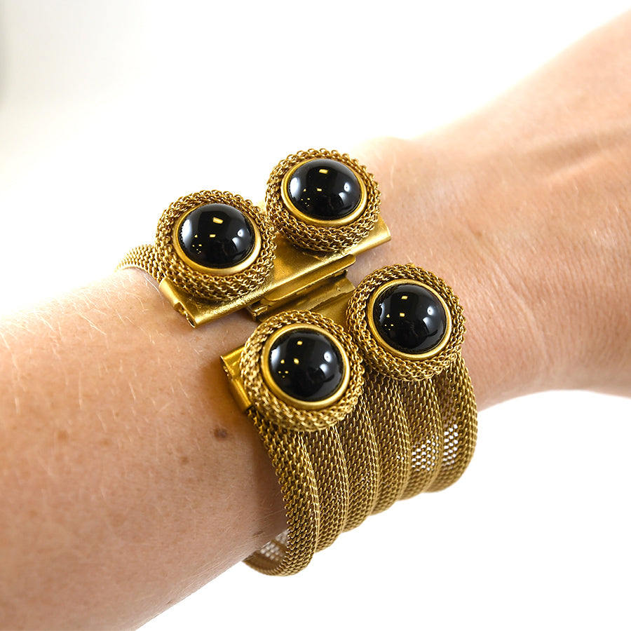 Onyx and Brass Bracelet