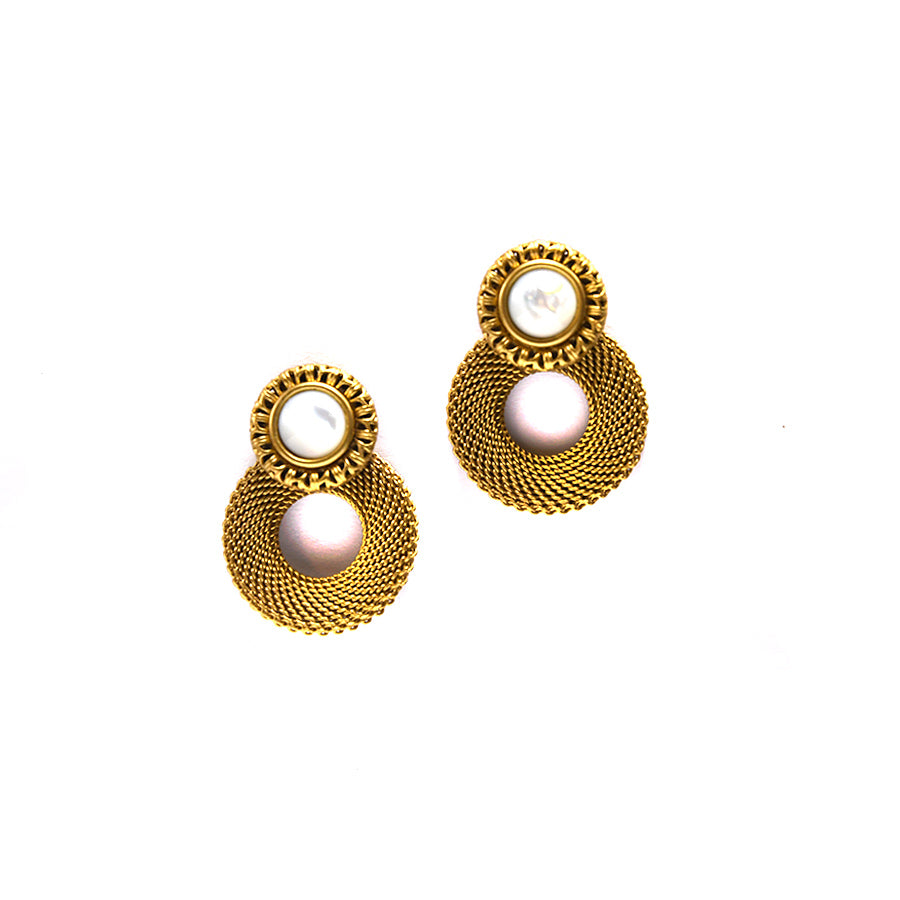 Brass and Mother of Pearl Circle Earrings