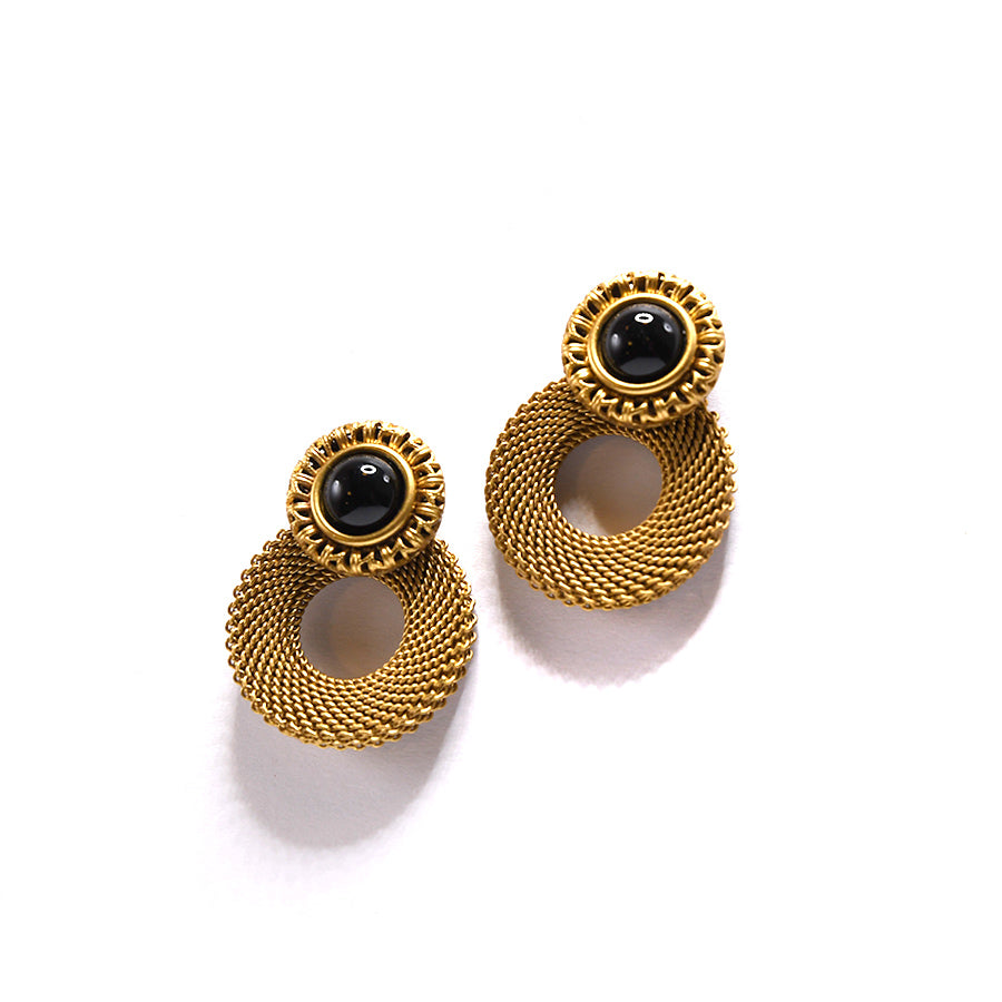 Brass and Onyx Circle Earrings