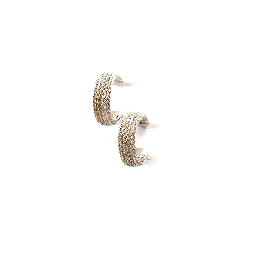 Flat Silver Metal Hoop Earrings