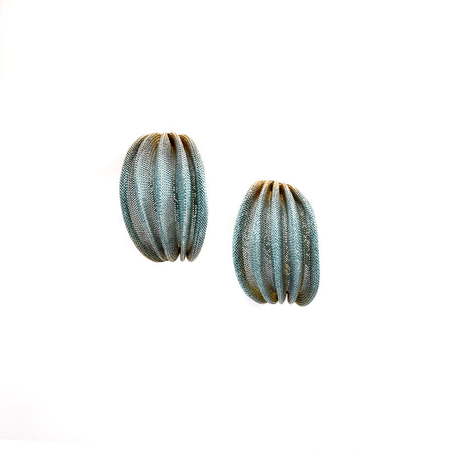 Brass and Aqua Hoop Earrings