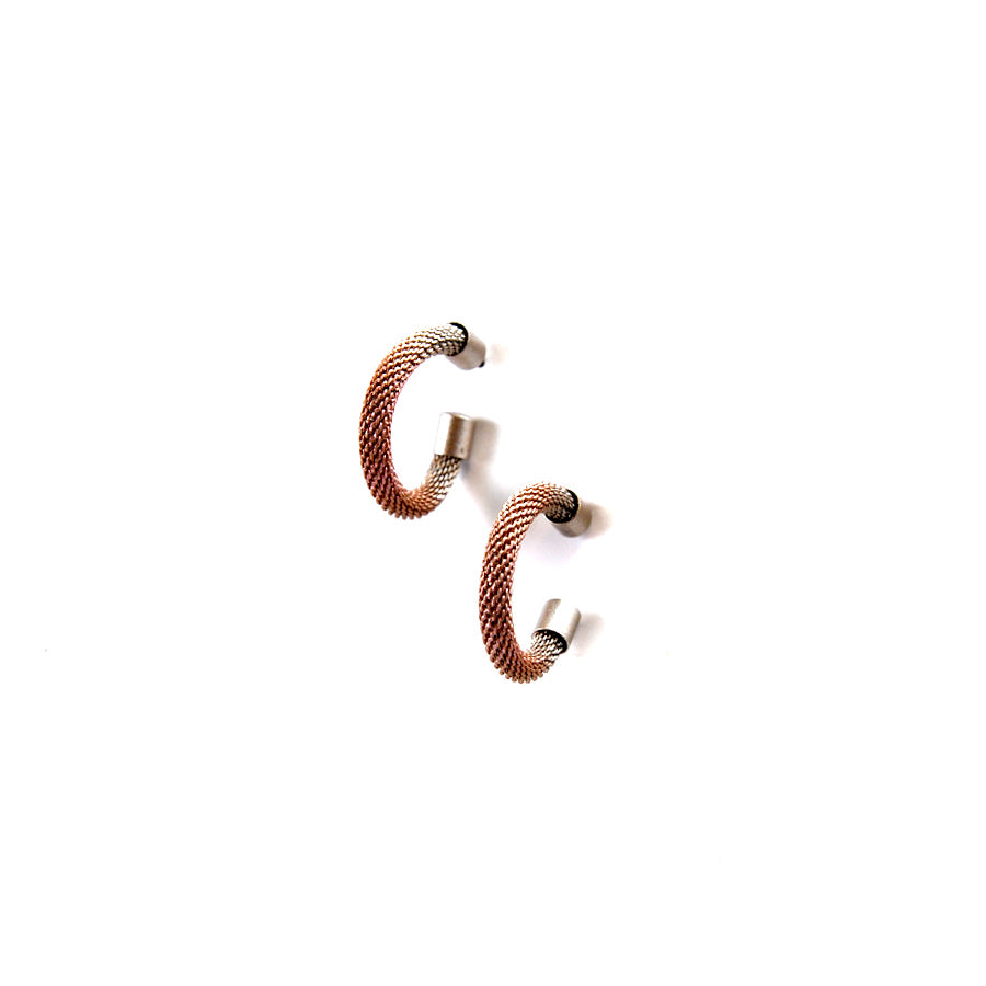 Pink and Brass Metal Hoop Earrings