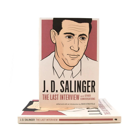 Cover of book features an cartoon image of Salinger on a faded red background. Title is at the bottom.