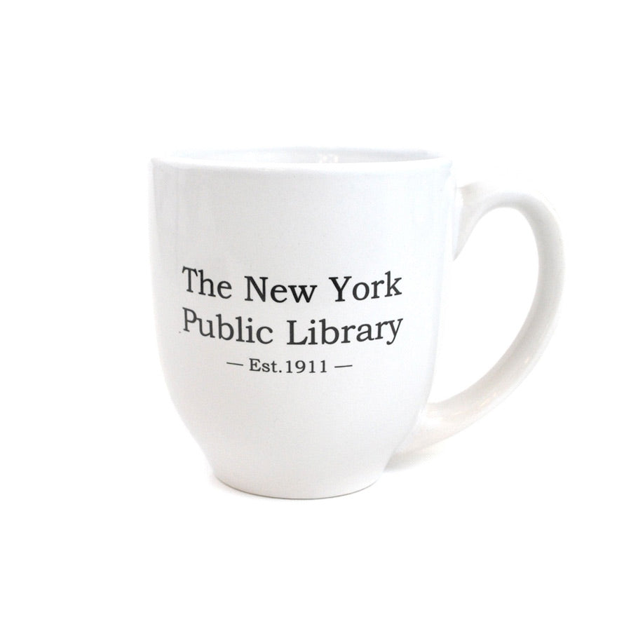 "All white mug with text ""The New York Public Library - Est. 1911 -"""