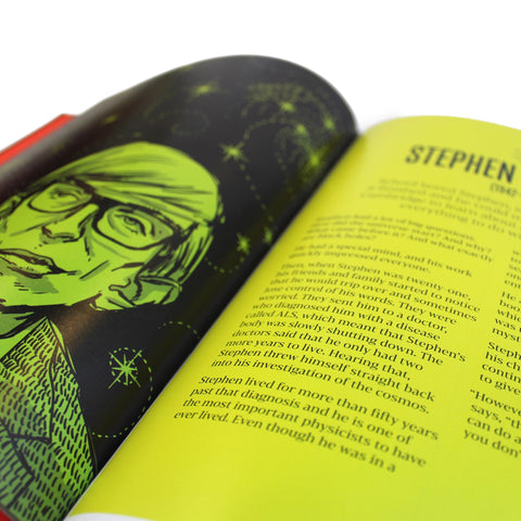 Book features an cartoon image of each men with a small biography.