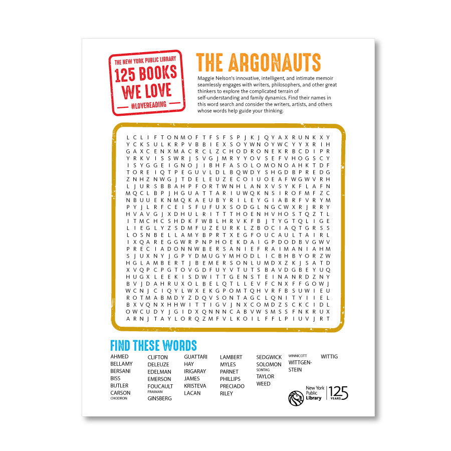 Printable Word Search: The Argonauts - The New York Public Library Shop
