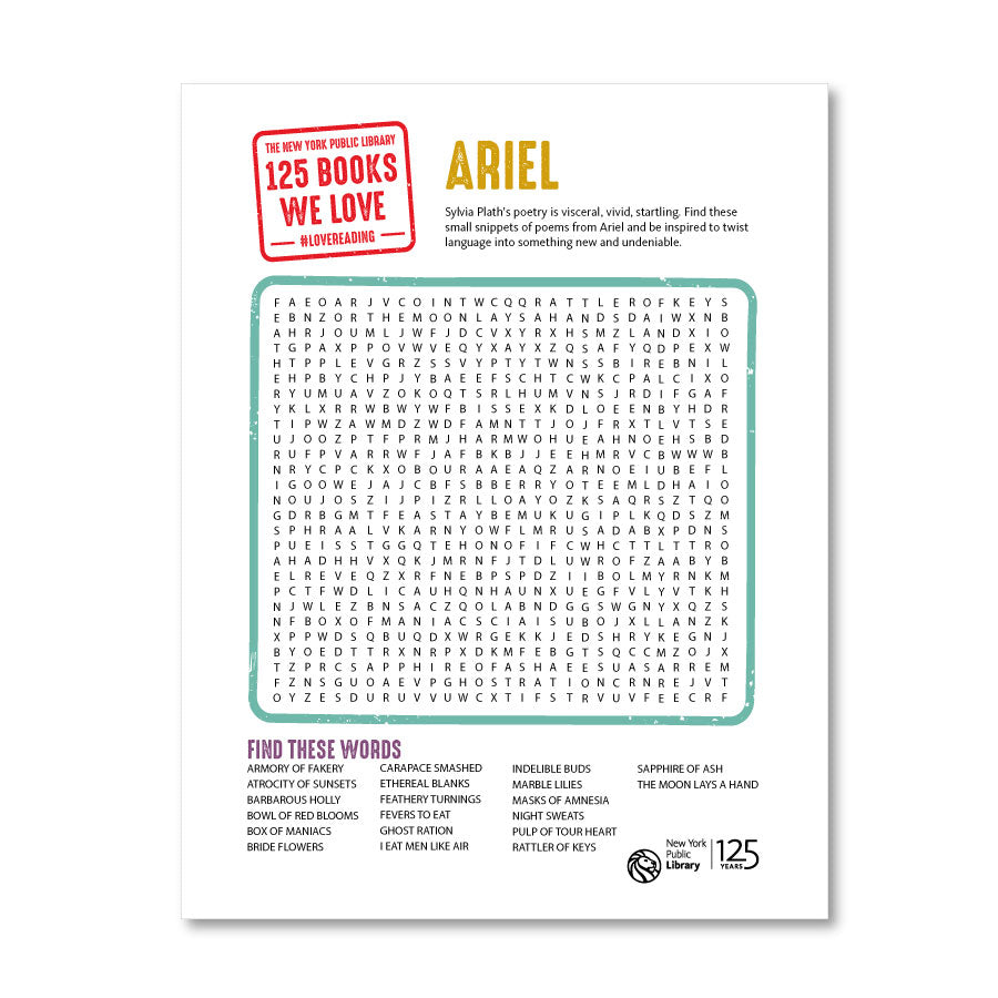 Printable Word Search: Ariel - The New York Public Library Shop