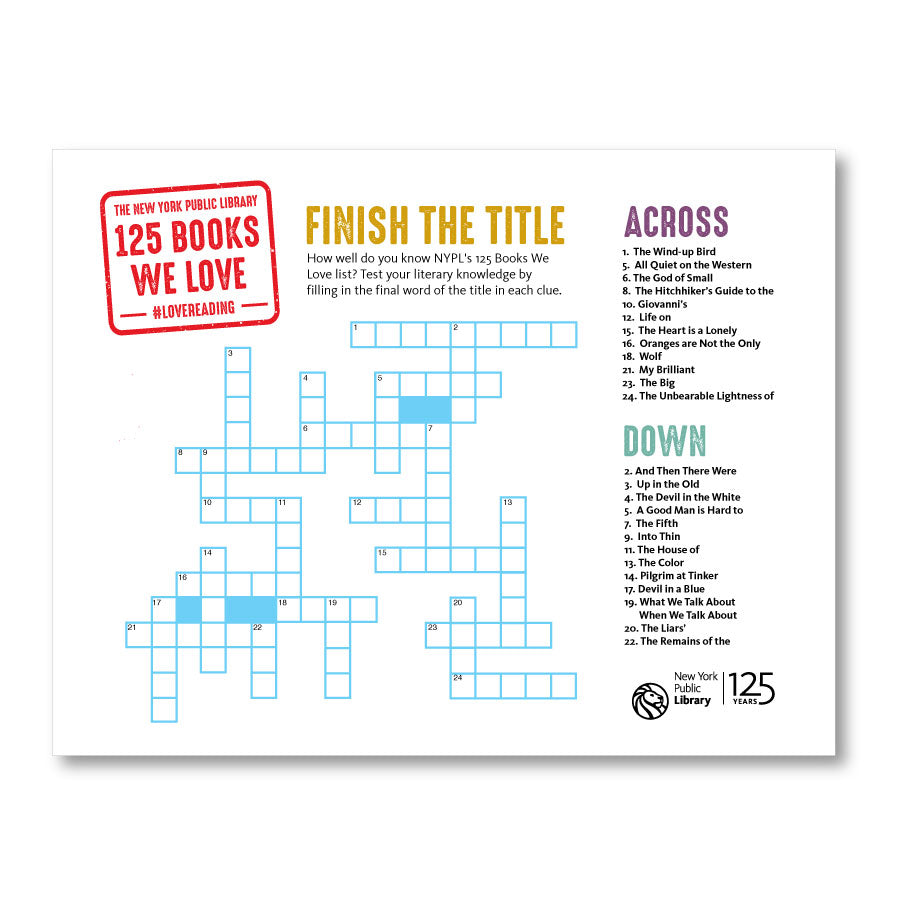 Printable Crossword: Finish the Title - The New York Public Library Shop