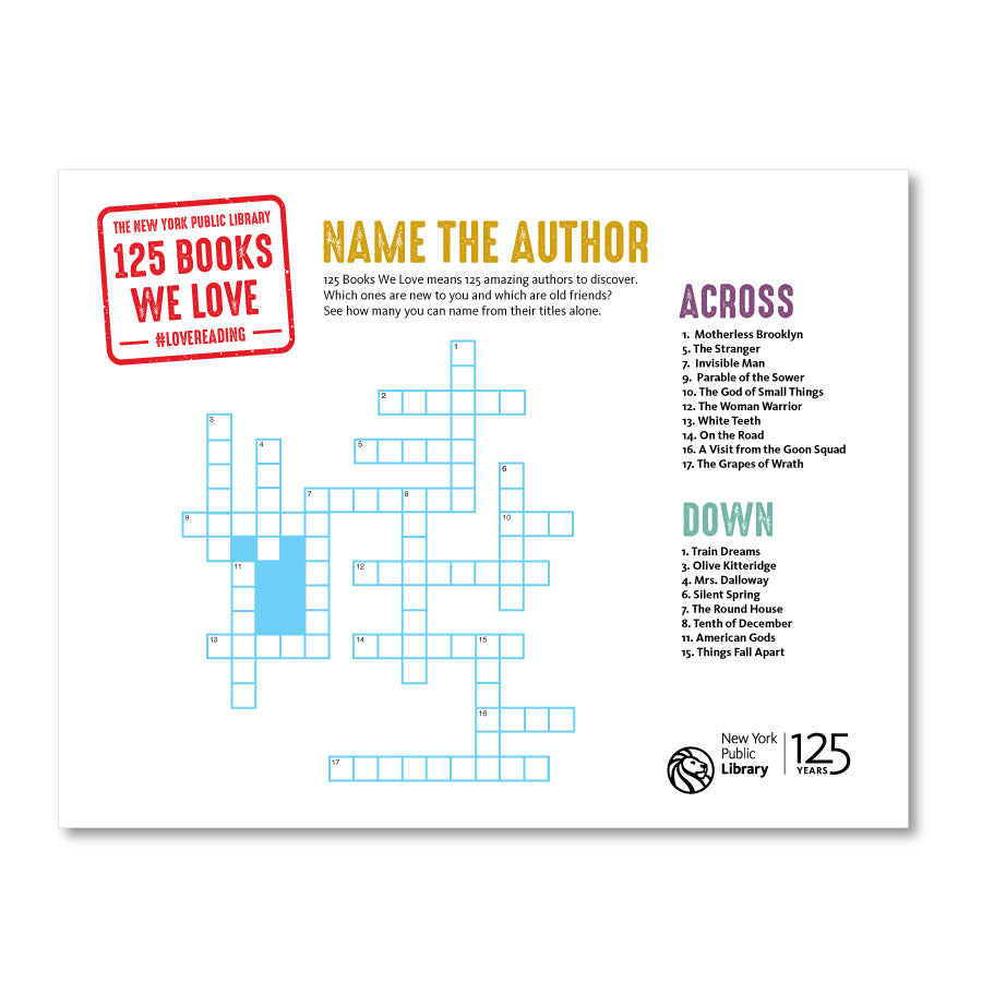 Printable Crossword: Name the Author - The New York Public Library Shop