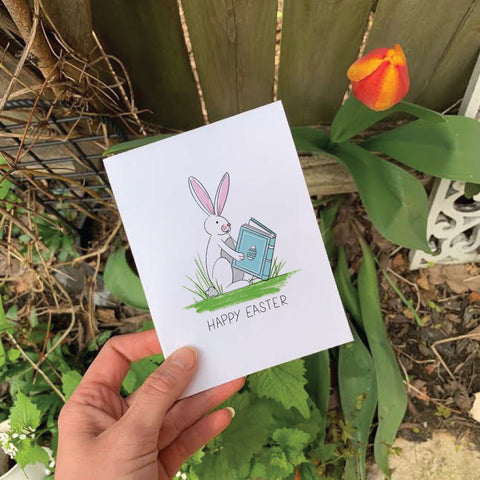 Easter Bunny Reading : Printable Greeting Card