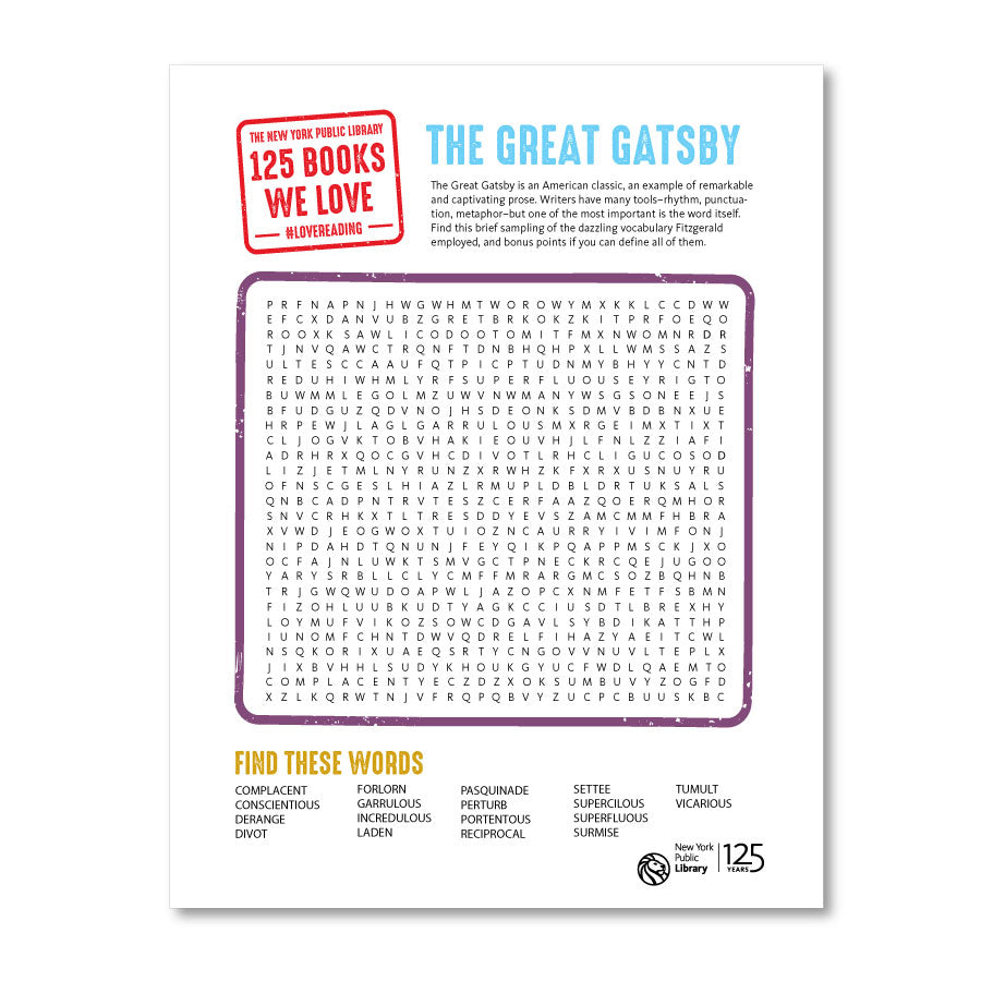 Printable Word Search: The Great Gatsby - The New York Public Library Shop