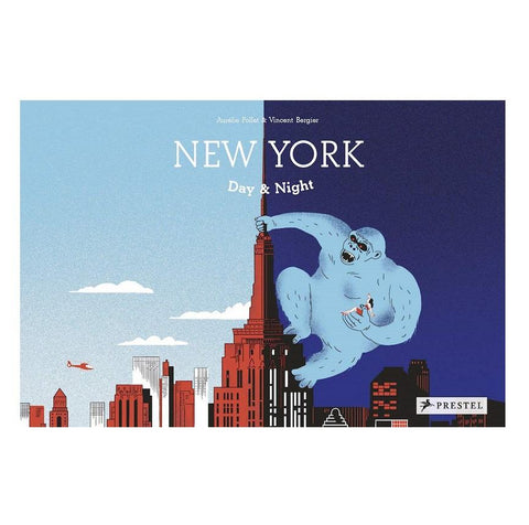 Illustration of King Kong on Empire State Building. One side is light blue, representing the day and the other side is dark blue, representing the night.